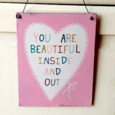 'You Are Beautiful' - Hanging Metal Plaque