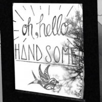 'Hello Handsome' Hand Engraved Mirror